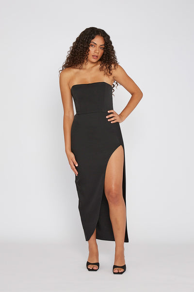 The Lotus Strapless Dress - Black