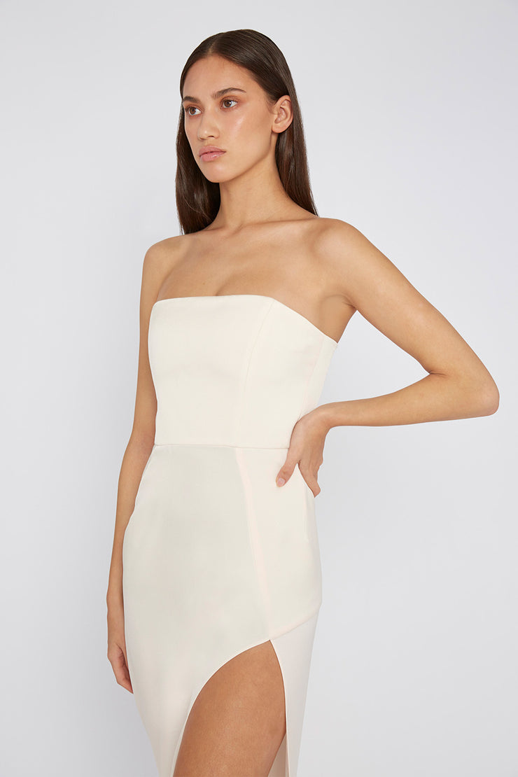 The Lotus Strapless Dress - Creme