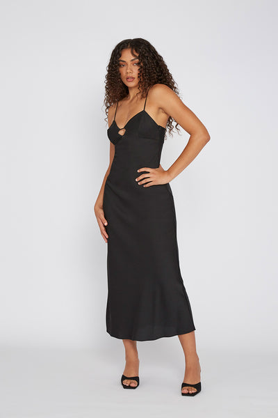 The Orchid Slip Dress - Black