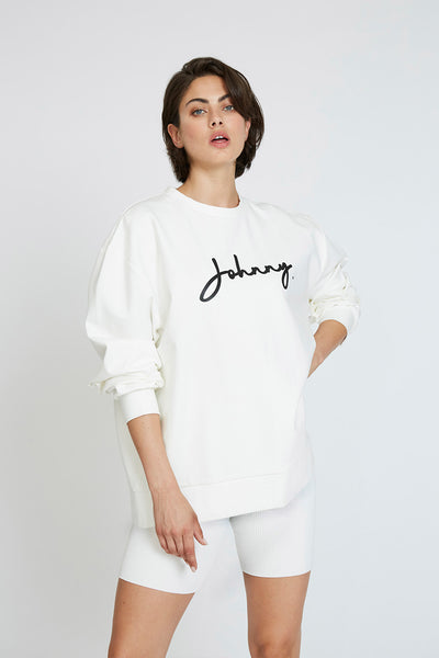 Unisex Signature Crew Sweat - White Black