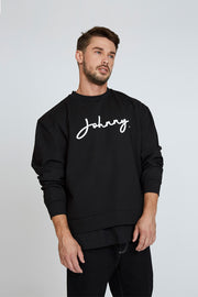 Signature Crew Sweat - Black/White