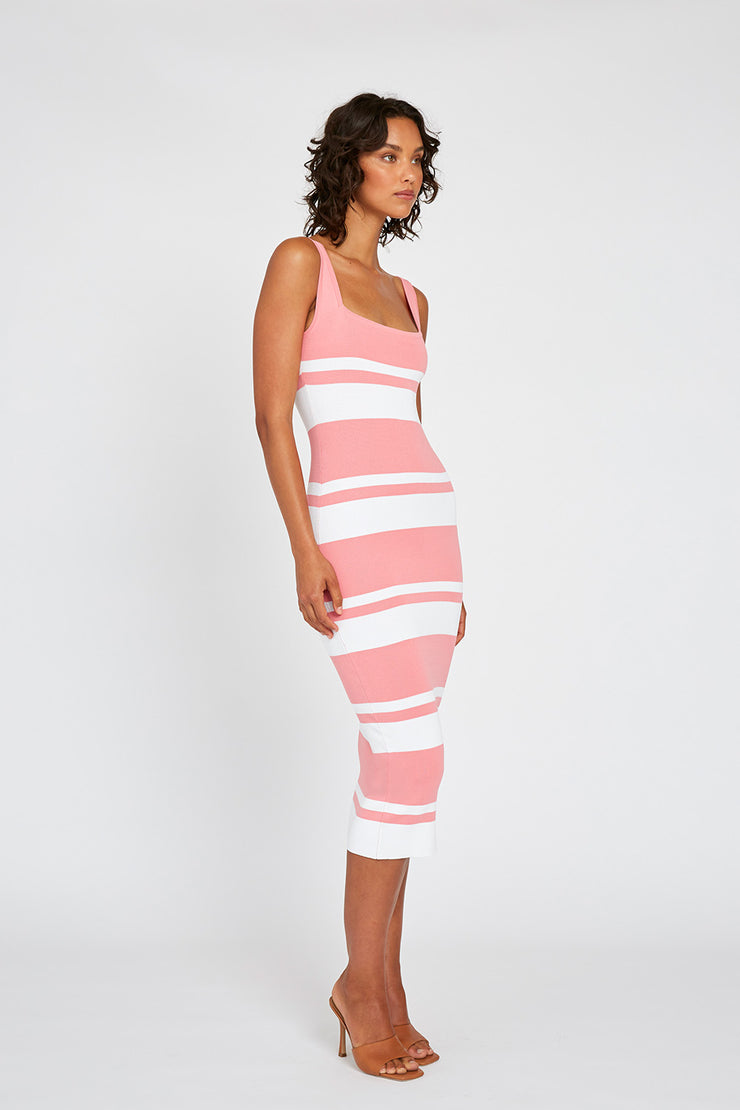 Double Stripe Square Neck Dress