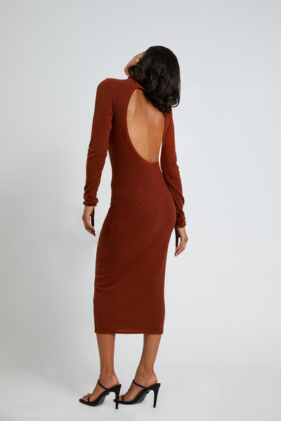 Circle Back Lurex Midi Dress - Copper Lurex