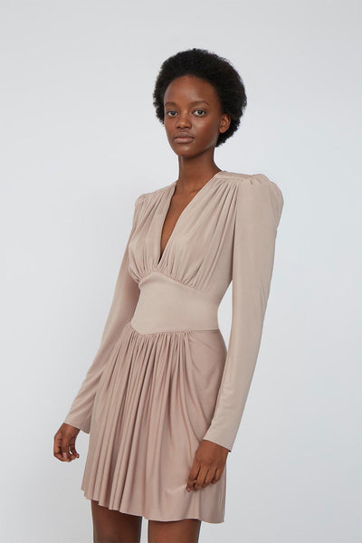 Mila May Sleeve Mini Dress - Taupe