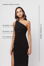 Sara Slice Asymmetric Midi Dress