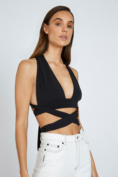 Kay Wrap Top - Black