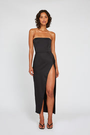 Strapless Split Gown – Black