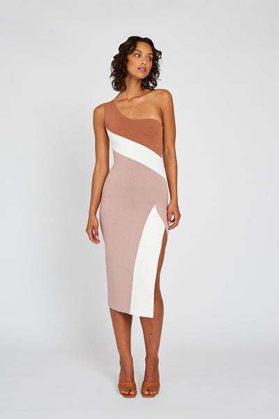 Taupe Tone Knit Midi Dress