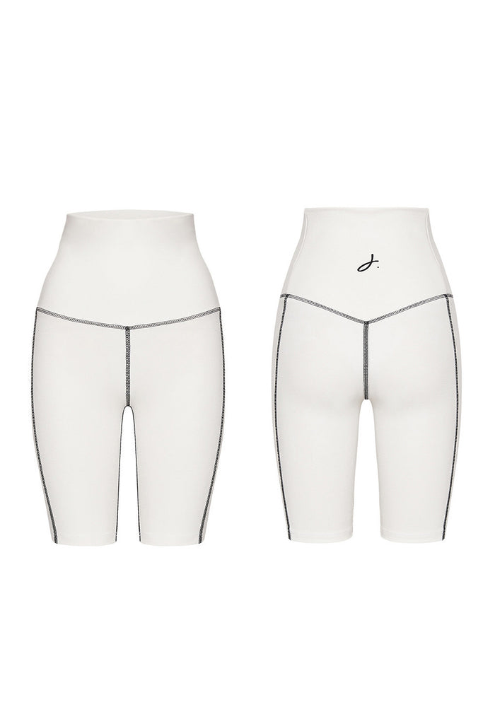 Ponte Bike Shorts - White Black