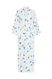 The Johnny Robe - White Blue Floral
