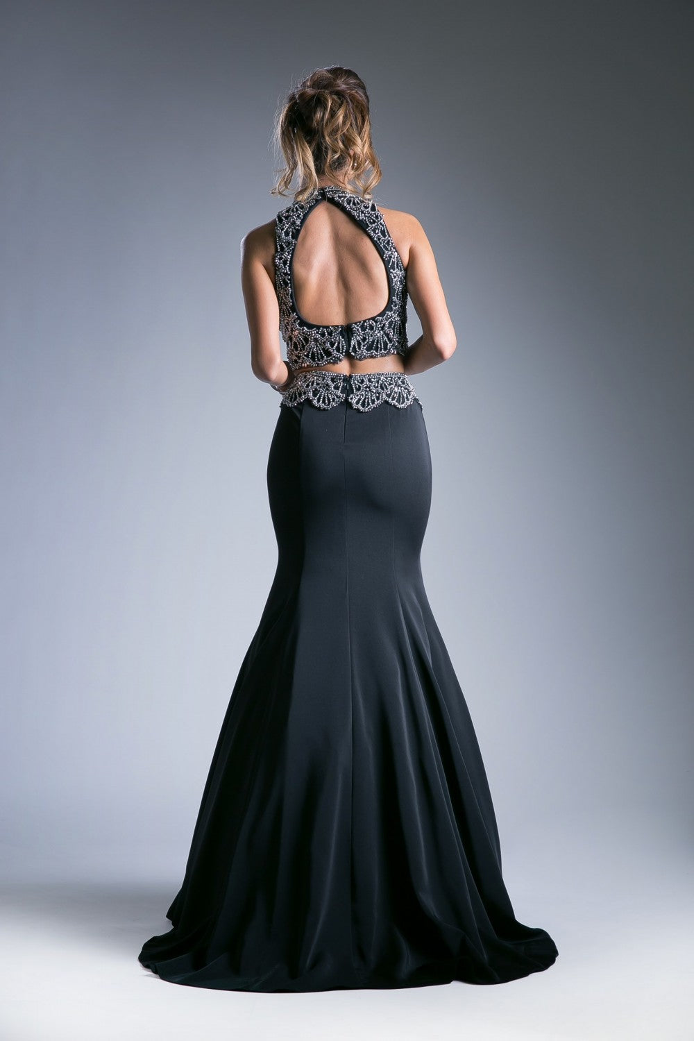 Two Piece Fitted Dress With Halter Beaded Top And Mikado Beaded Mermaid Skirt