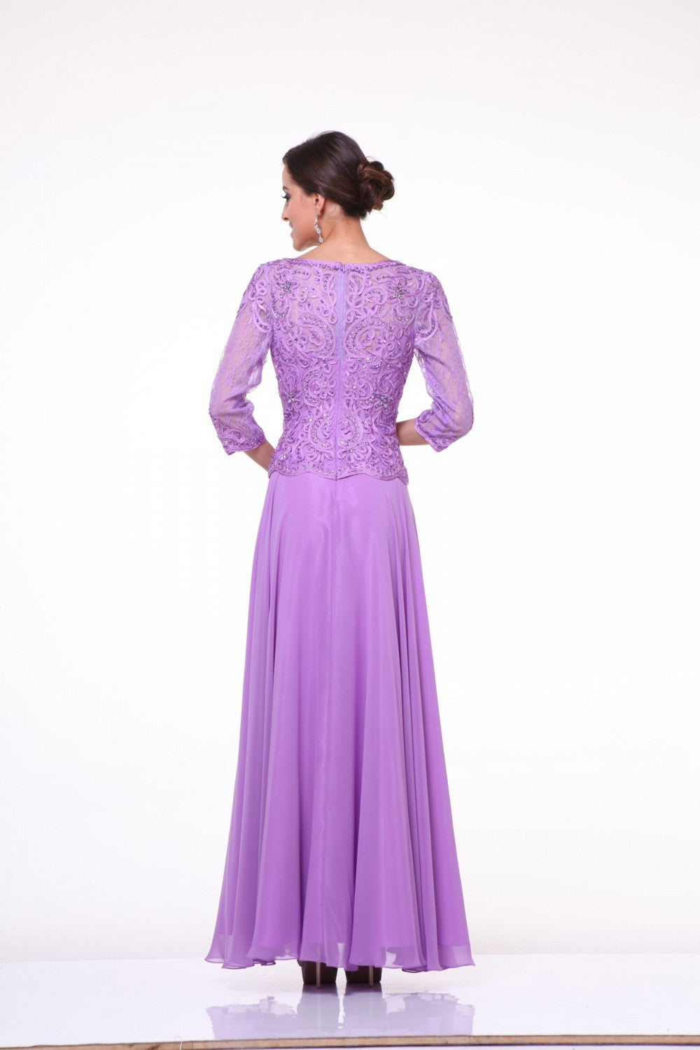 Beaded Lace Bodice Chiffon Empire Waist Dress