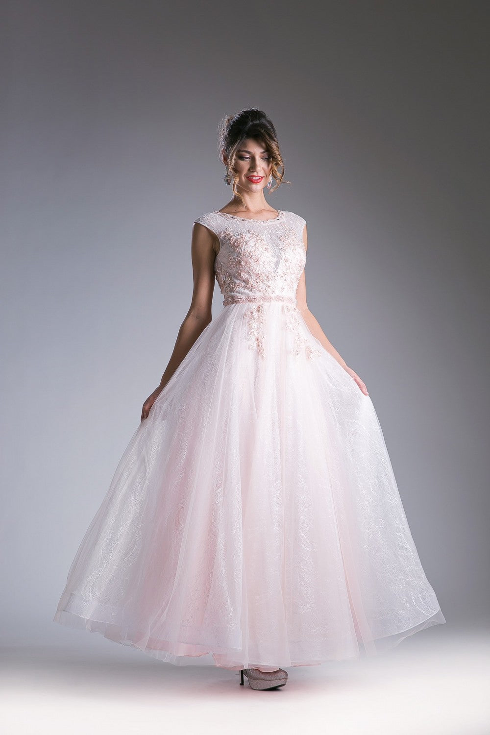 Beaded Tulle A - Line Gown