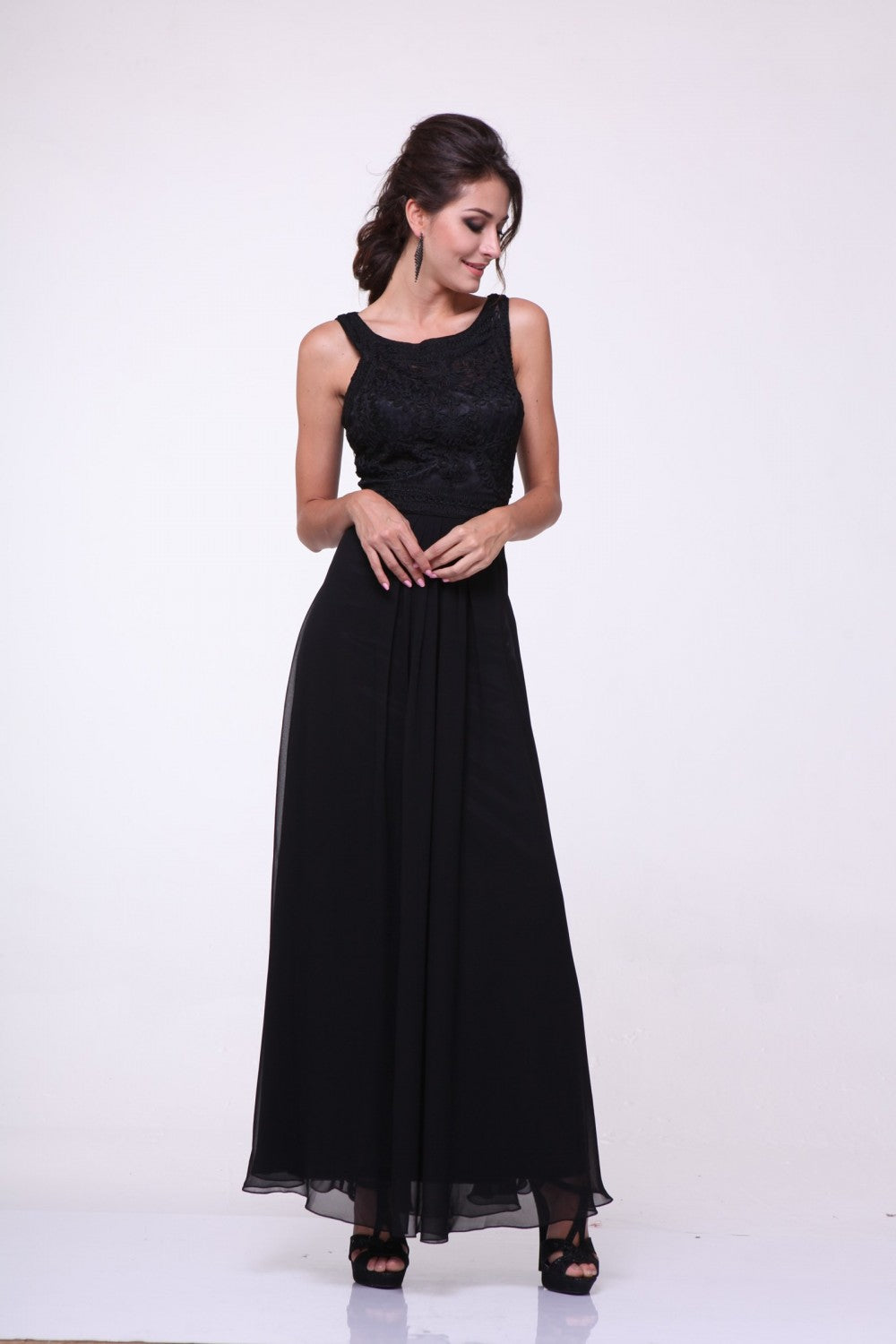 Lace Bodice Chiffon Empire Waist Dress
