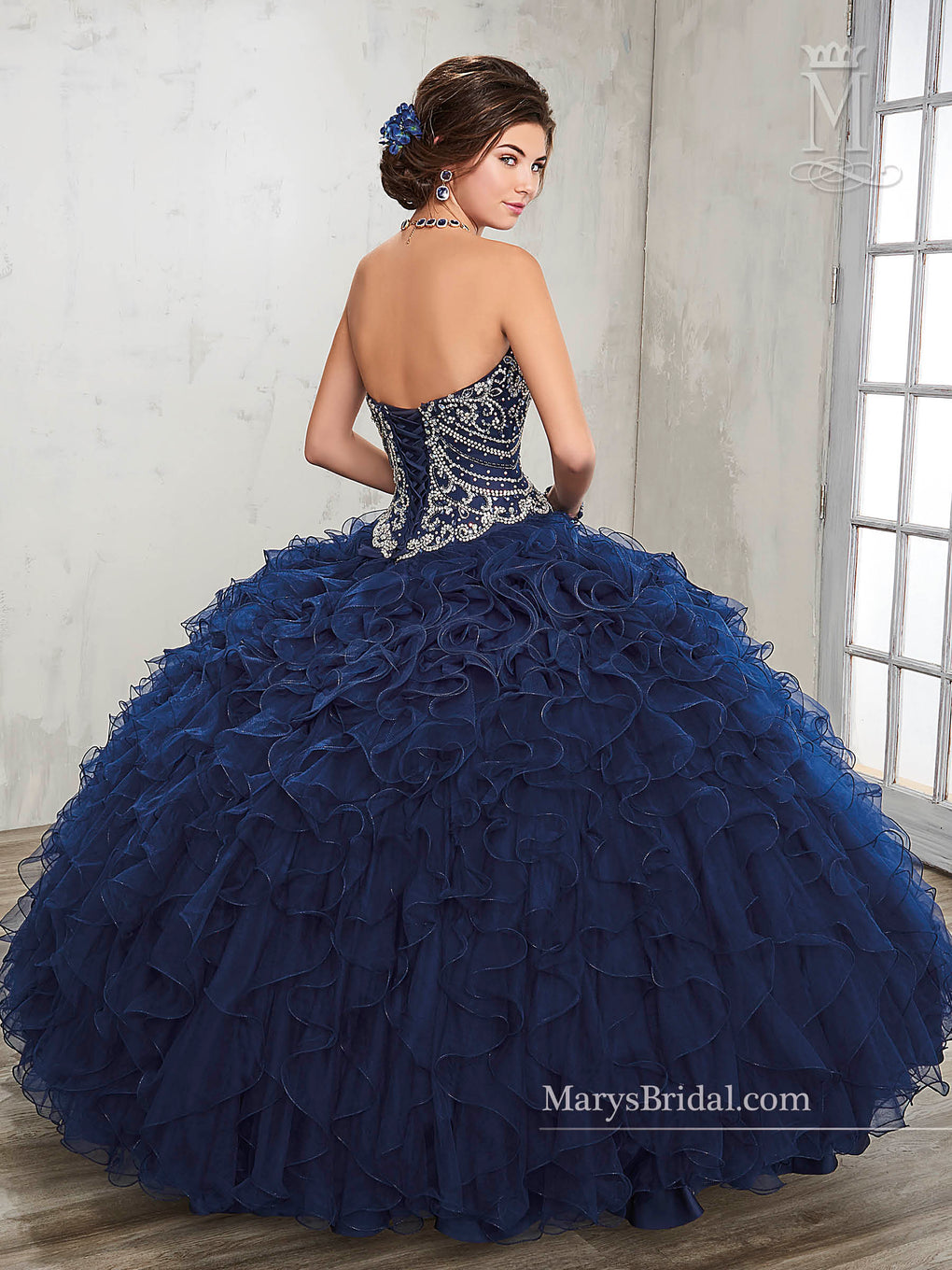 Marys Quinceanera Dresses in Dark Navy, White Color