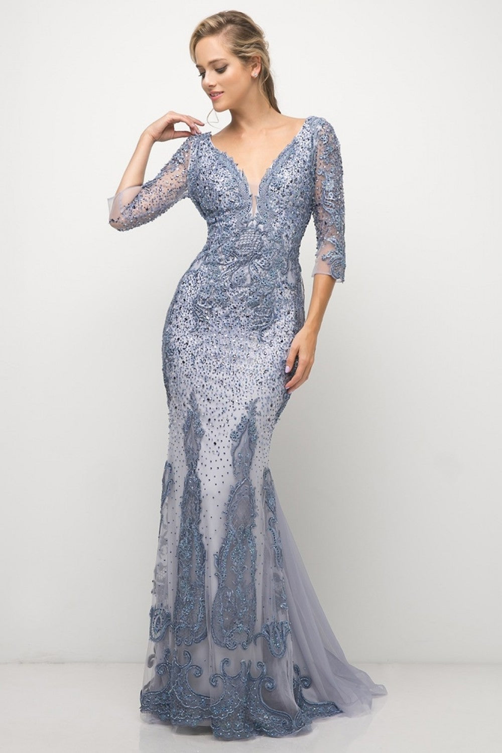 Fitted Beaded Mermaid Gown With Deep Plunge An Three-Quarter Sleeves