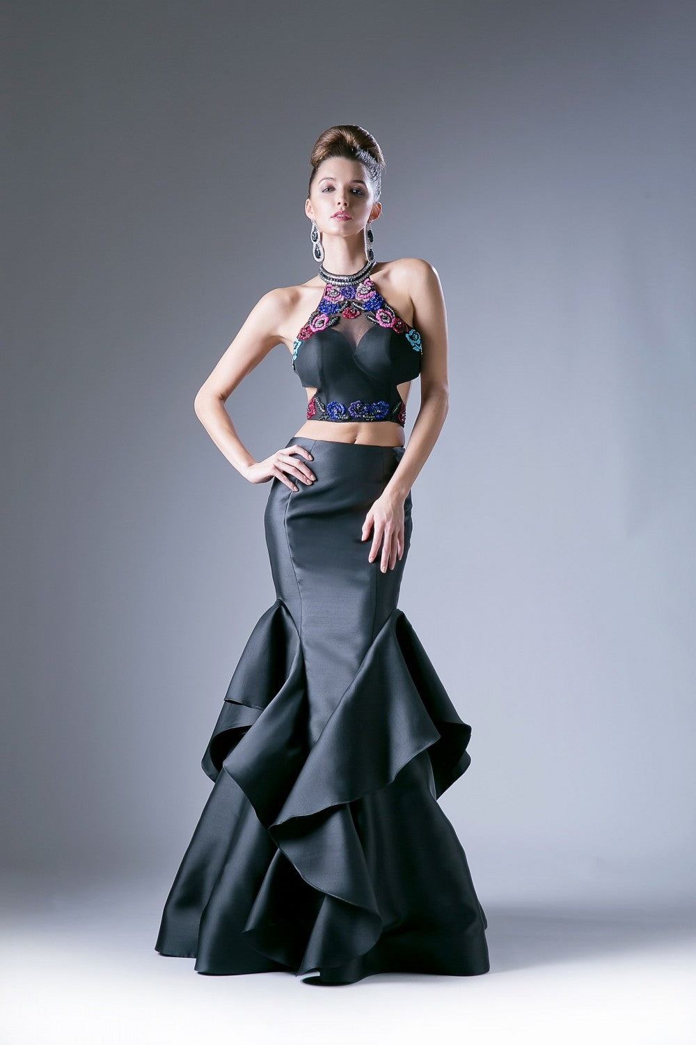 Two Piece Layered Mermaid Gown With Beaded Lace Bodice, Mikado Skirt And Keyhole Back