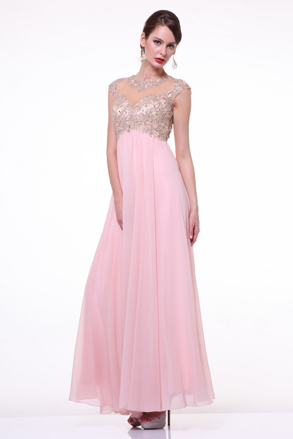 Lace Bodice A - Line Chiffon Dress