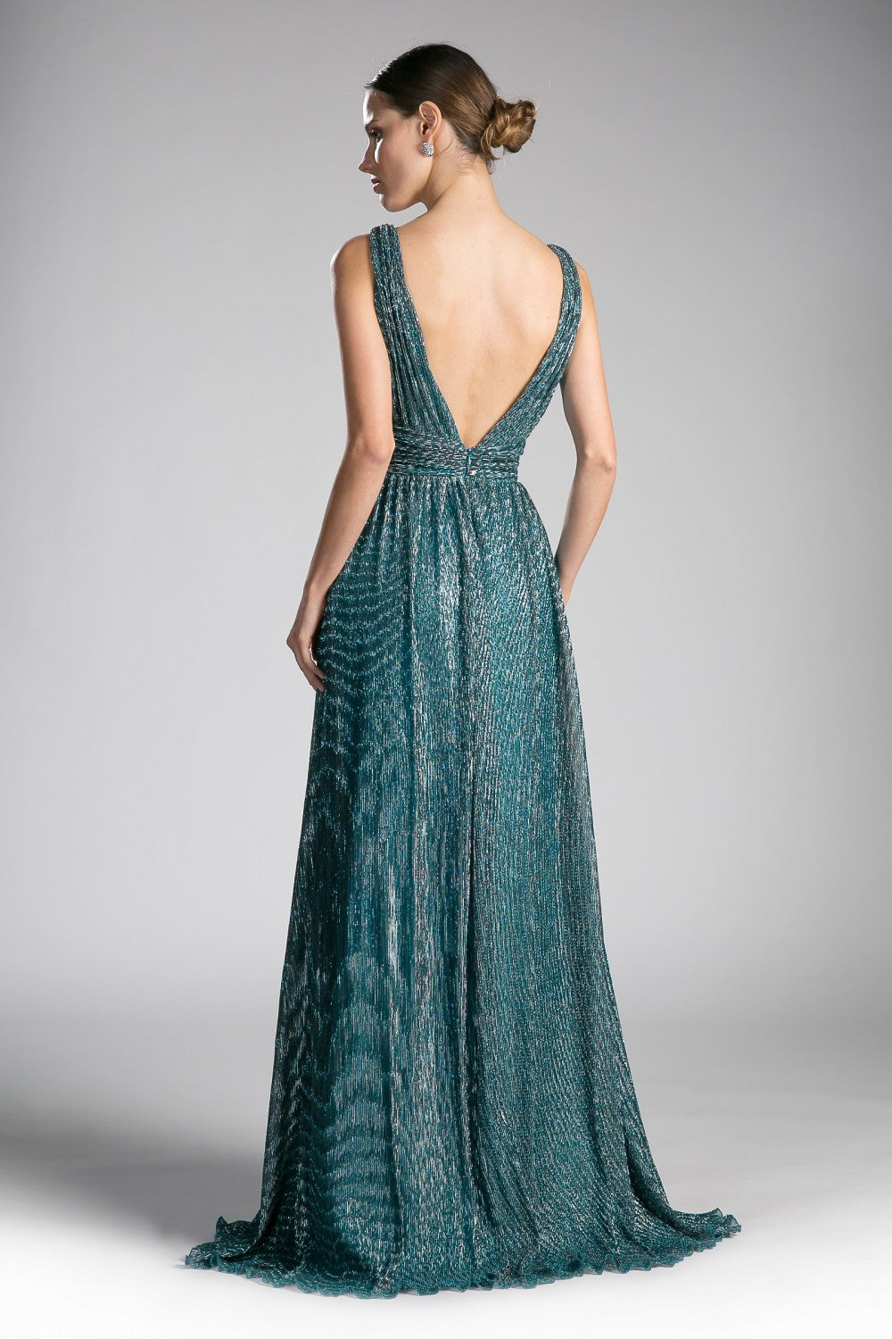A-Line Metallic Knit Gown With Gathered Waistband And Open Back