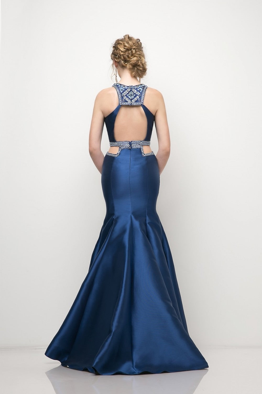 Halter Mermaid Mikado Gown With Waist Cut Outs And Geometric Beaded Details