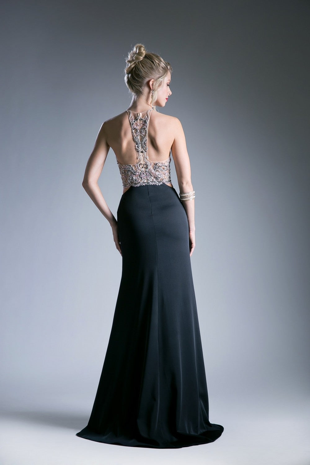 Fitted Stretch Knit Cut Out Gown With Beaded Halter Illusion Neckline And T-Back
