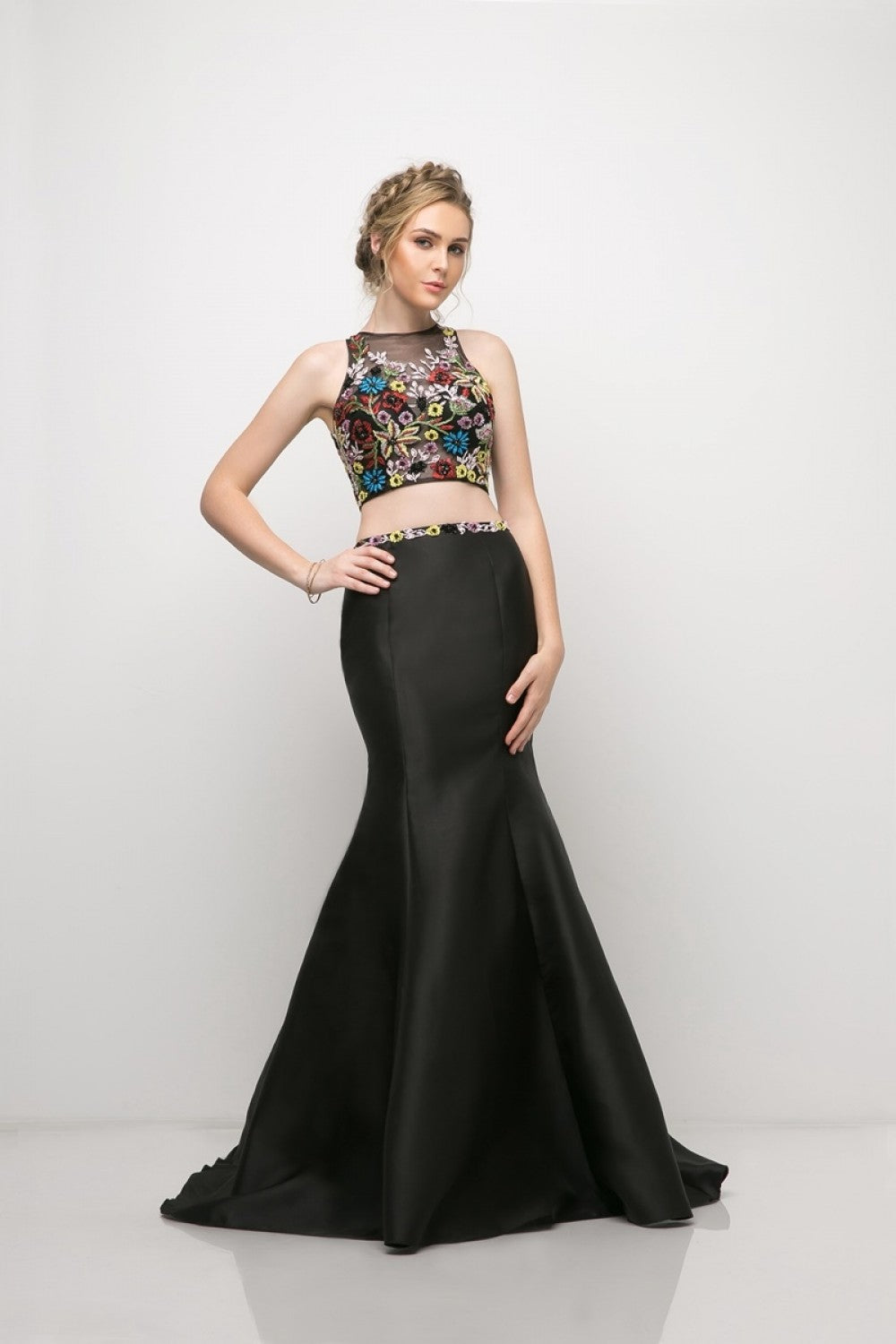 Two Piece Mermaid Dress With Beaded Floral Detail, Mikado Skirt And Keyhole Back