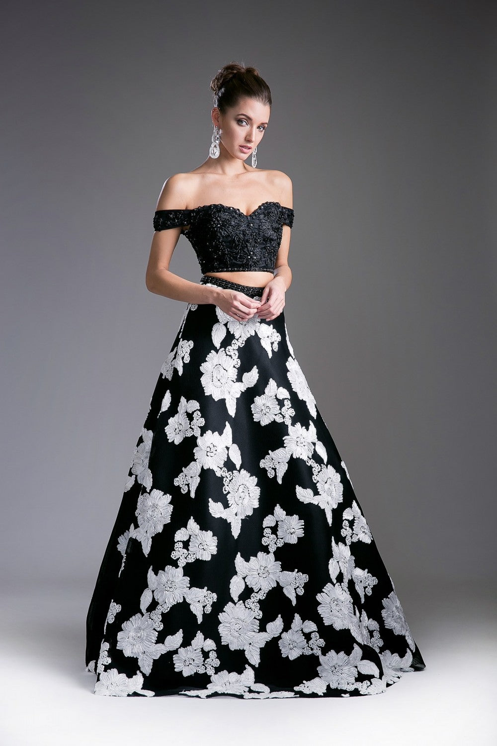 Two Piece Off The Shoulder Gown With Embelished Lace Details And Ballgown Skirt