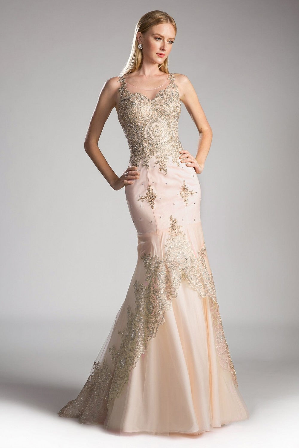 Fitted Mikado Gown With Beaded Lace And Scoop Back