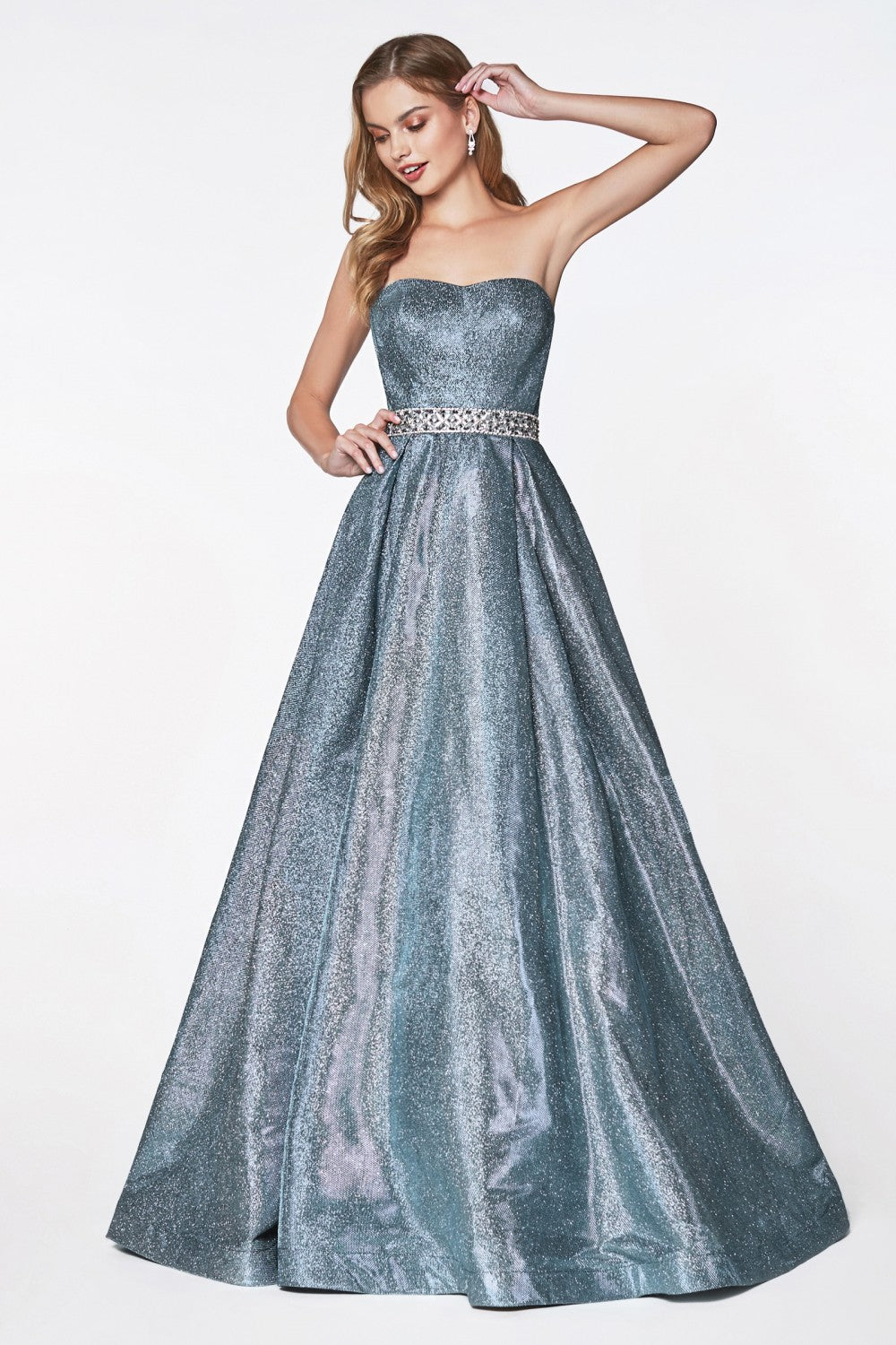Strapless Glitter Ballgown With Beaded Belt And Soft Sweatheart Neckine