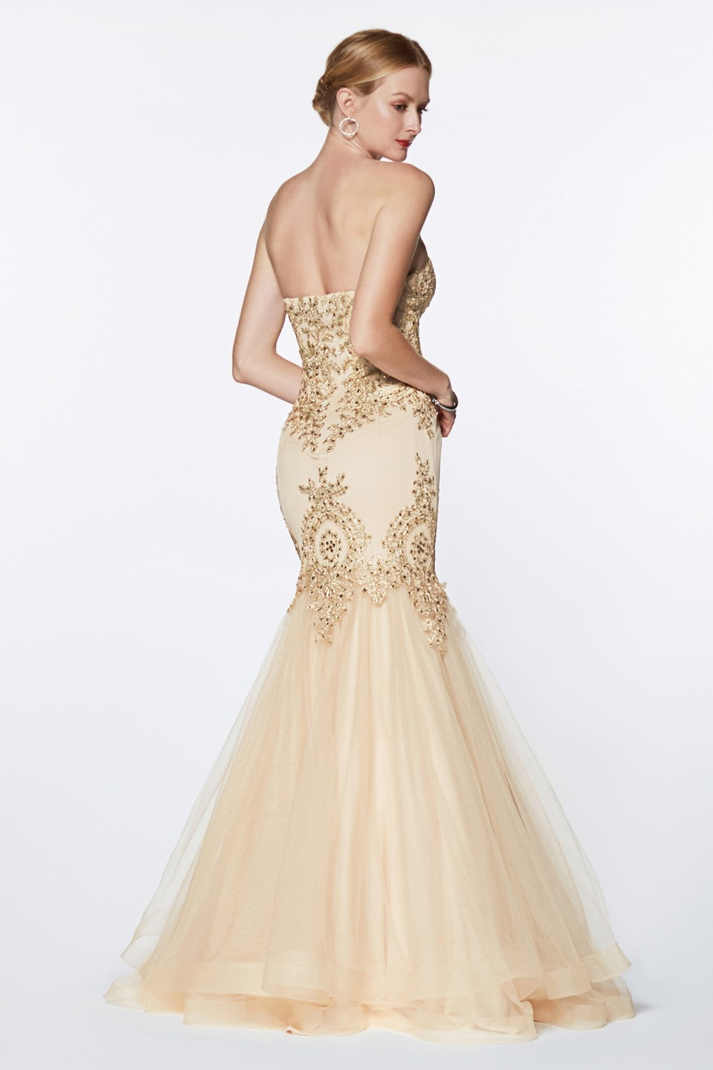 Strapless Mermaid Tulle Gown With Lace Details And Horsehair Trim Hem