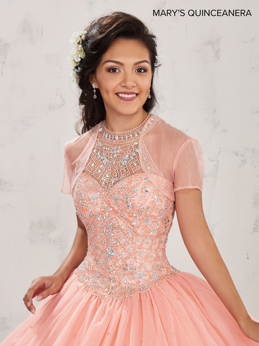 Marys Quinceanera Dresses in Peach, Royal, or White Color