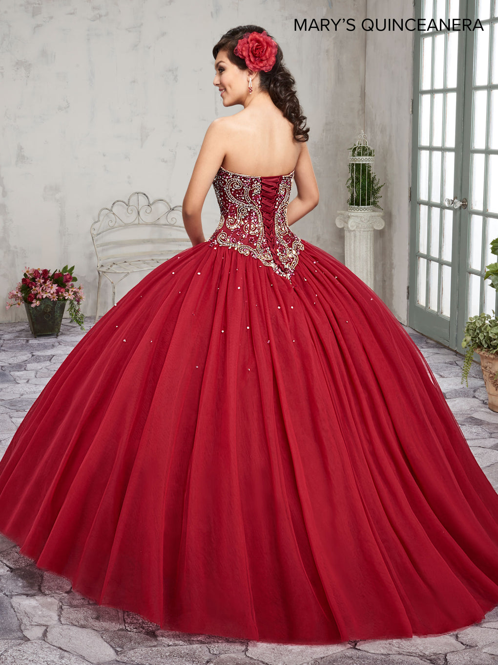 Marys Quinceanera Dresses in Blueberry, Wine, or White Color