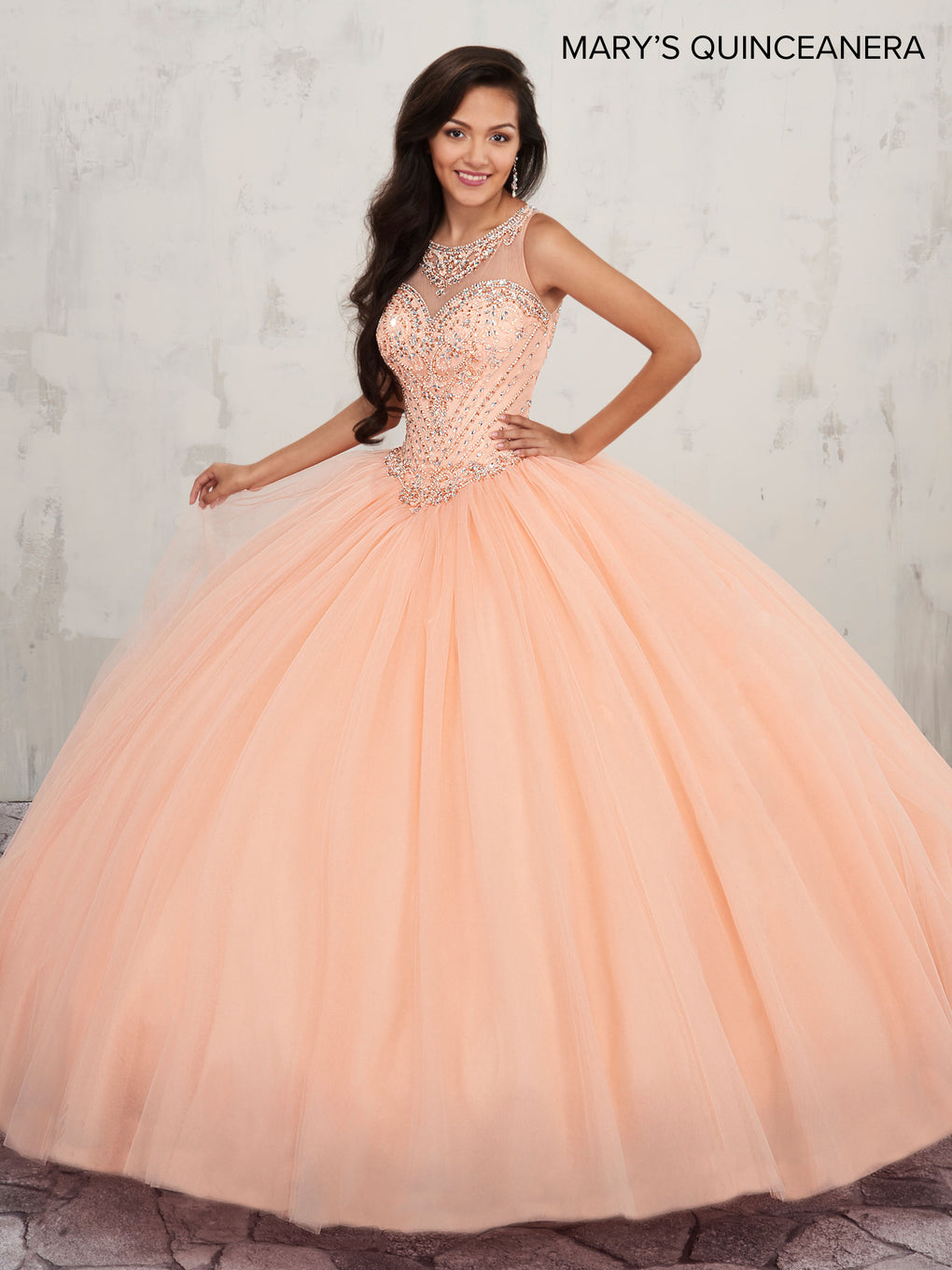 Marys Quinceanera Dresses in Peach or White Color