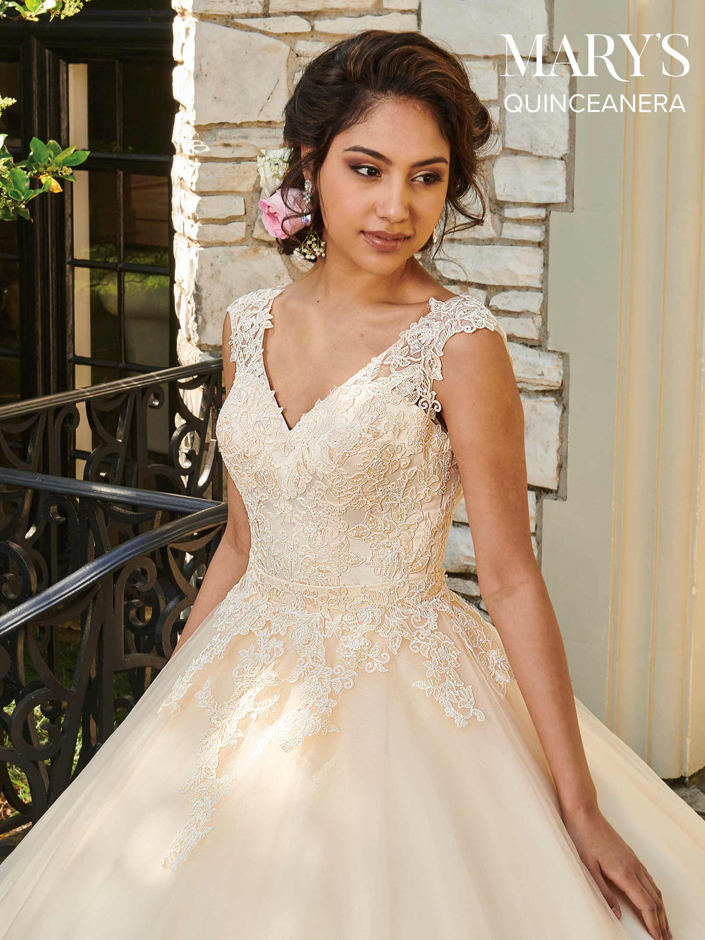 Marys Quinceanera Dresses in Champagne, Coral, or White Color