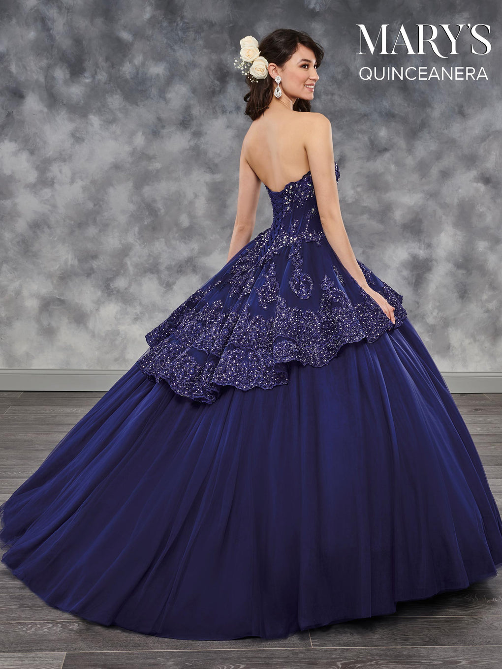 Marys Quinceanera Dresses in Indigo, Red, or White Color