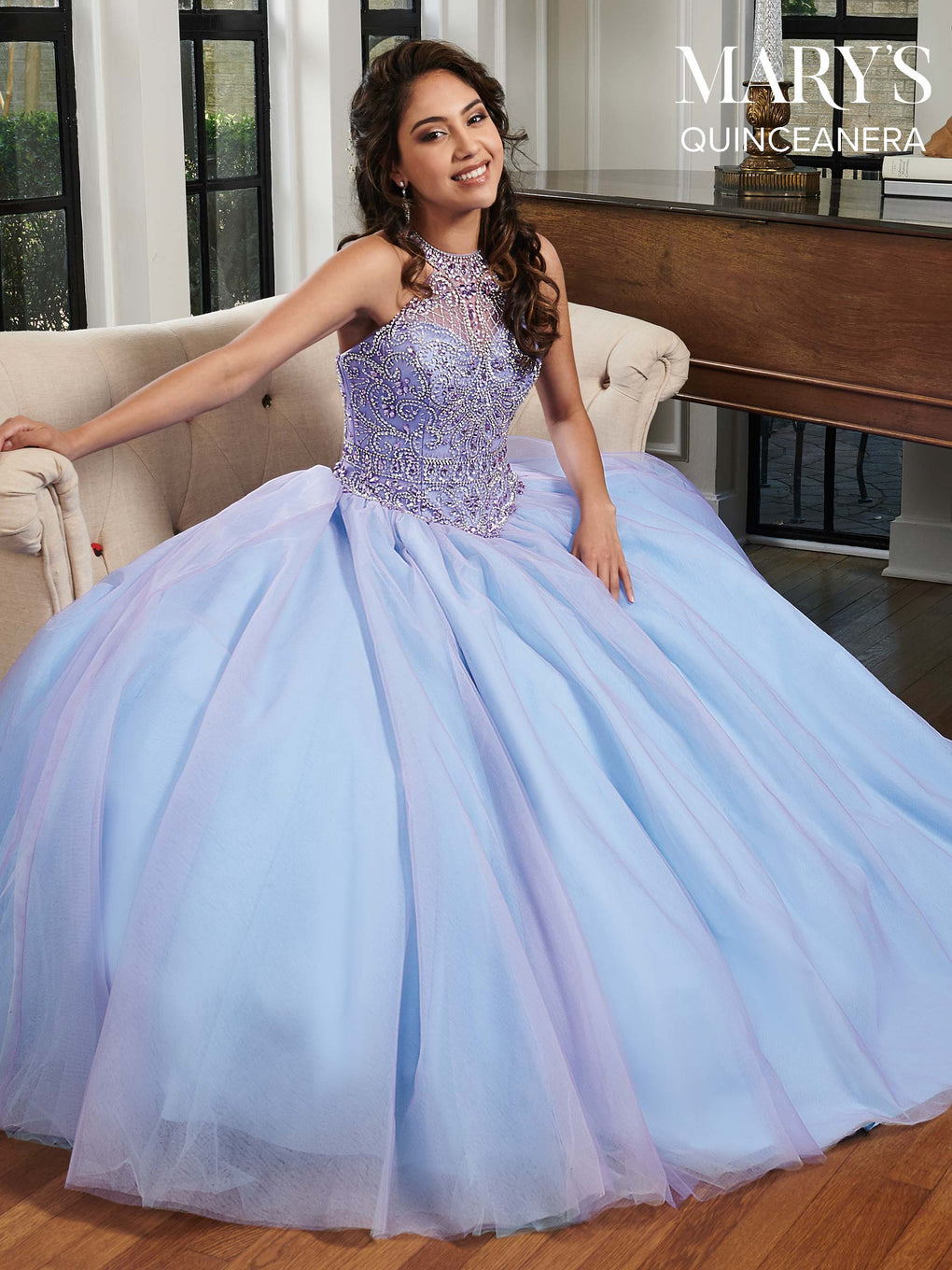 Marys Quinceanera Dresses in Cotton Candy, Sherbet, or White Color