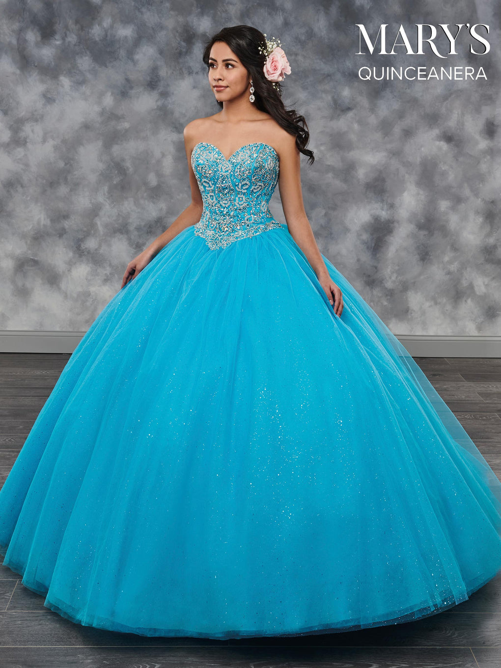 Marys Quinceanera Dresses in Burgundy, Light Blue, Turquoise, Gold, or White Color