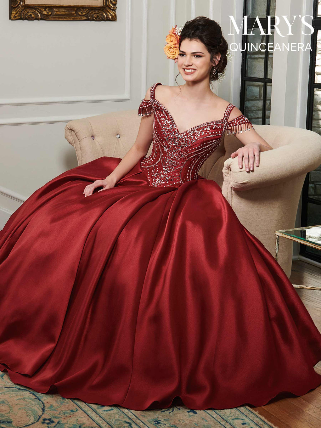 Marys Quinceanera Dresses in Champagne, Deep Red, or White Color
