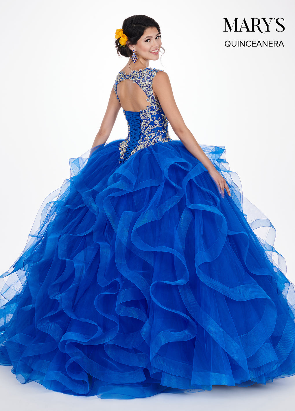 Marys Quinceanera Dresses in Royal/Gold or Dark Champagne/Gold Color