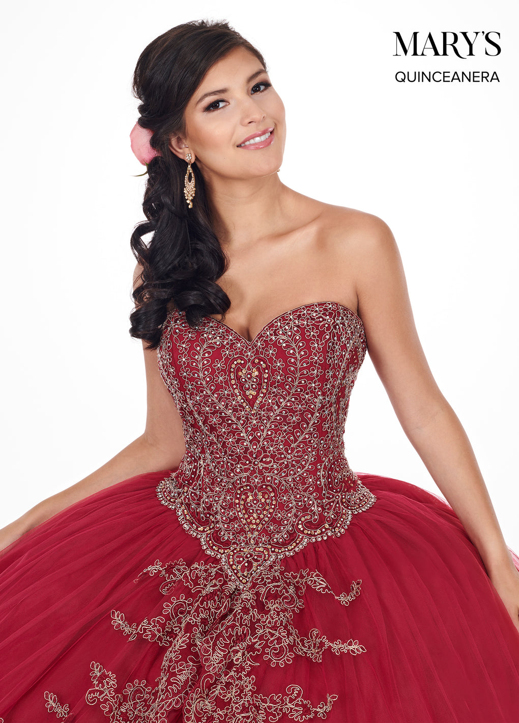 Marys Quinceanera Dresses in Burgundy/Gold, Midnight Blue/Gold, or Sky Blue/Gold Color