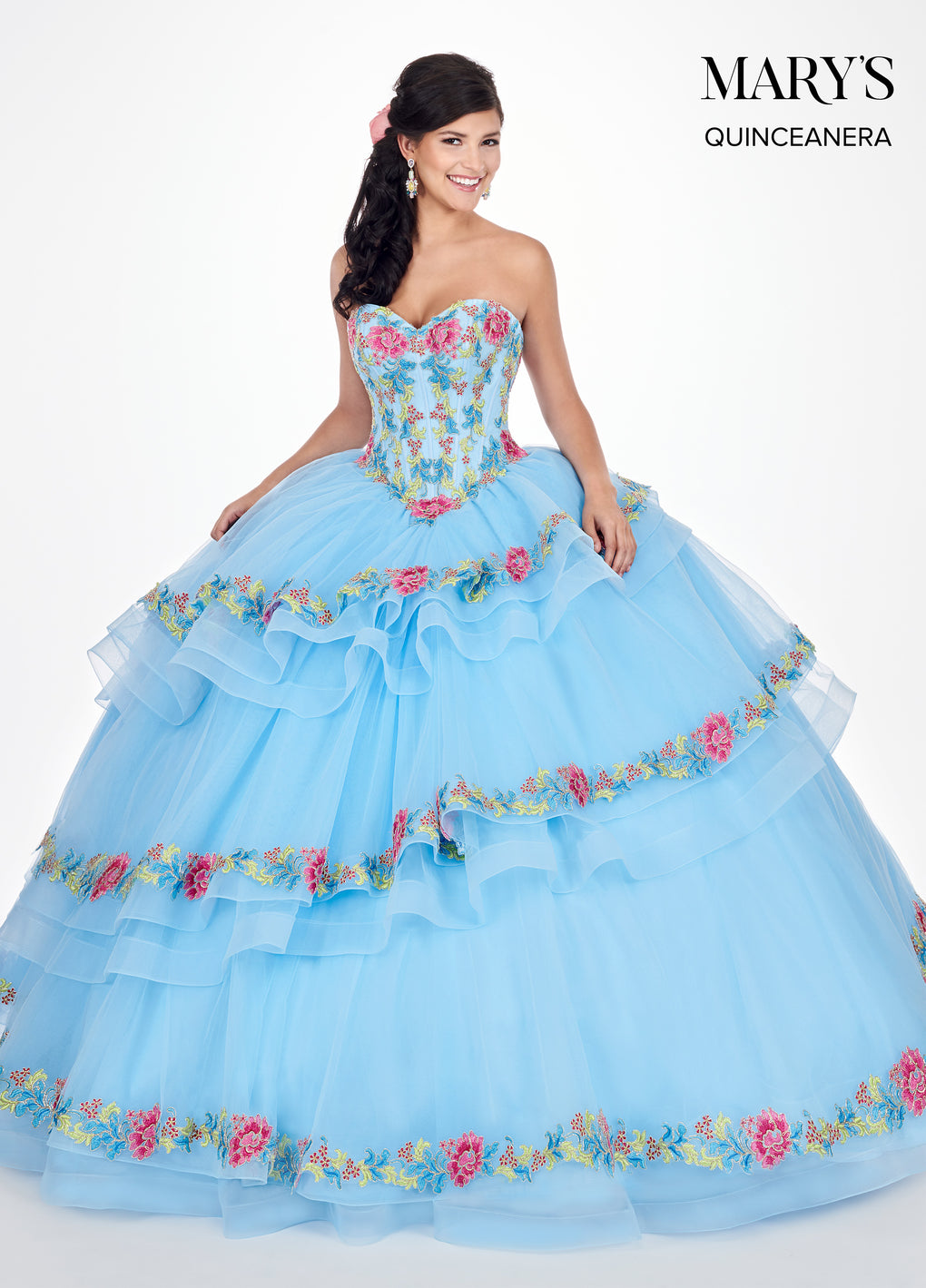 Marys Quinceanera Dresses in Sky Blue/Multi or White/Multi Color
