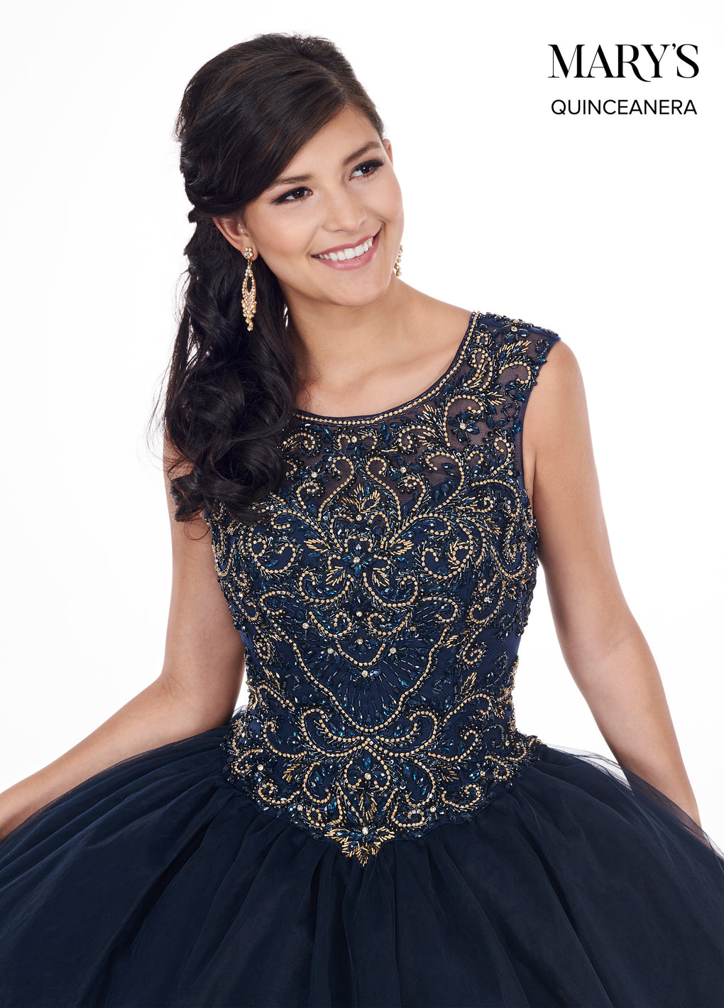 Marys Quinceanera Dresses in Peach or Midnight Blue Color