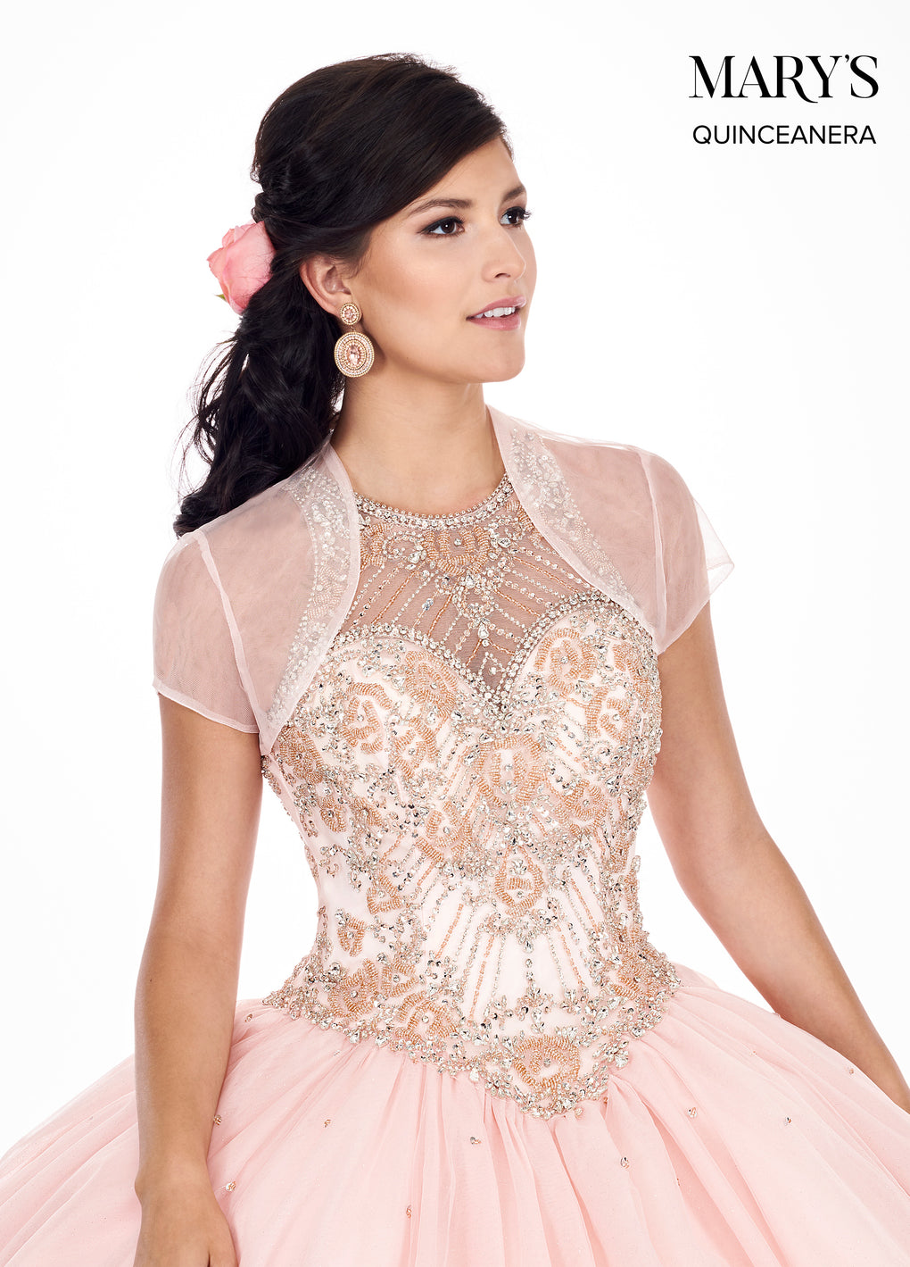 Marys Quinceanera Dresses in Blush/Rose Gold or Burgundy/Gold Color