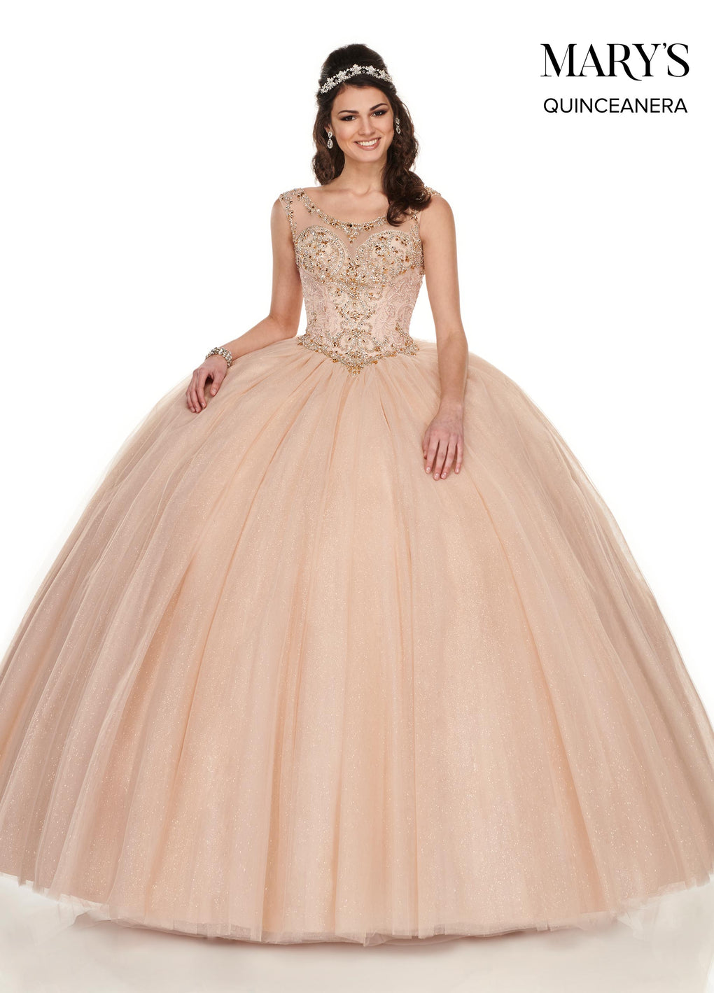 Marys Quinceanera Dresses in Jade/Silver or Dark Champagne/Rose Gold Color