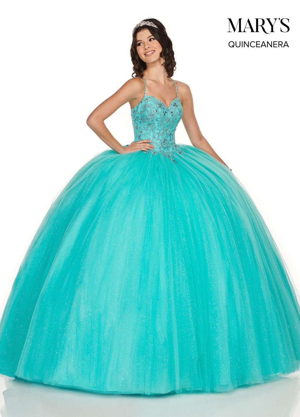 Marys Quinceanera Dresses in Light Jade or Rum Pink Color