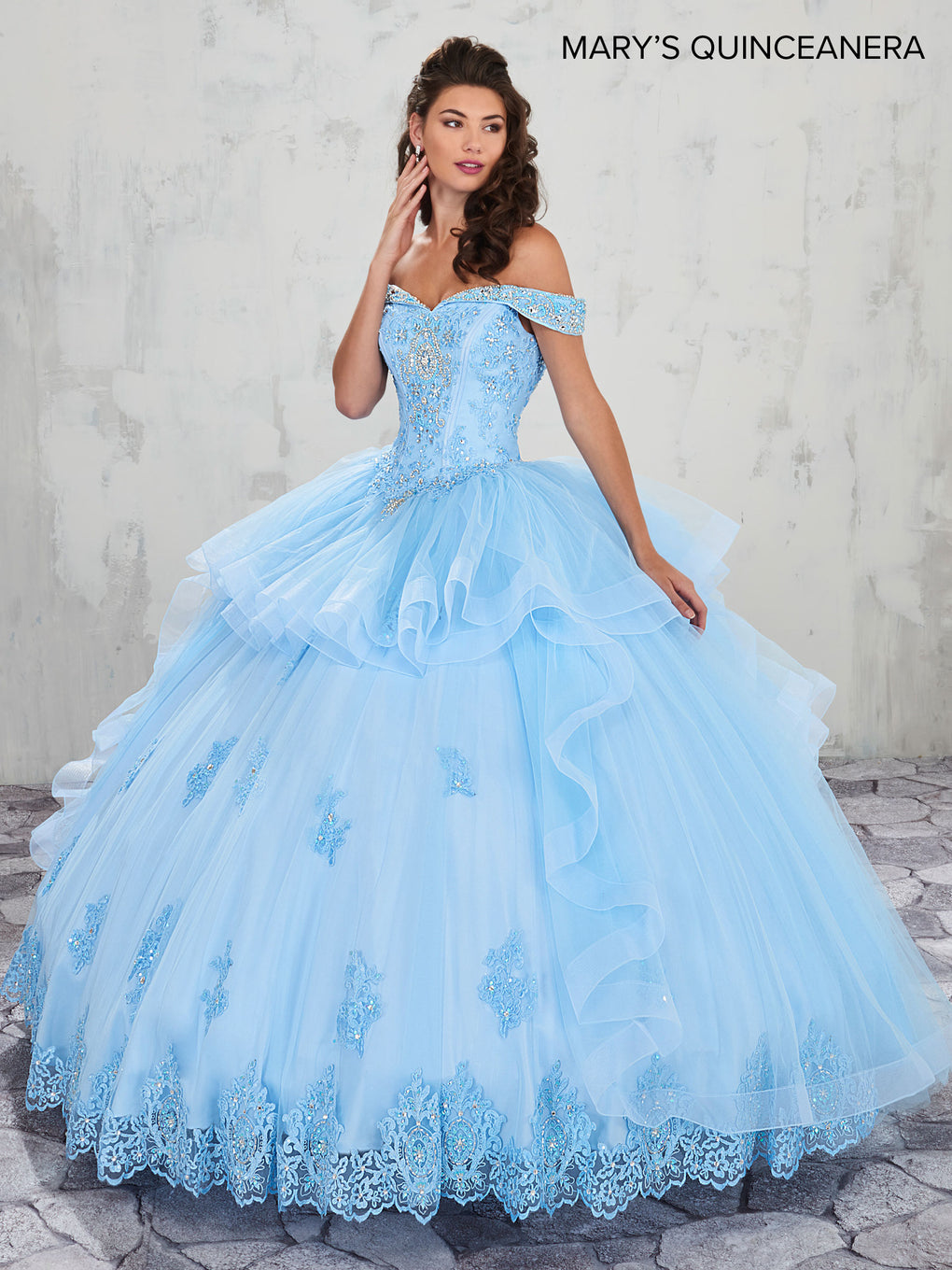 Marys Quinceanera Dresses in Light Blue, Emerald, or White Color