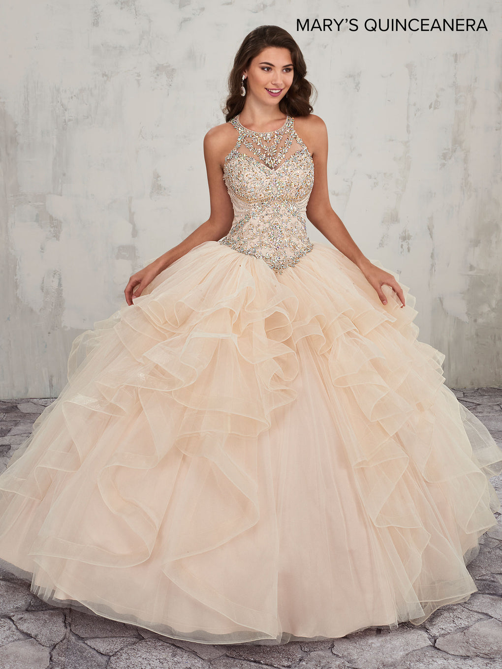 Marys Quinceanera Dresses in Blueberry, Champagne, or White Color