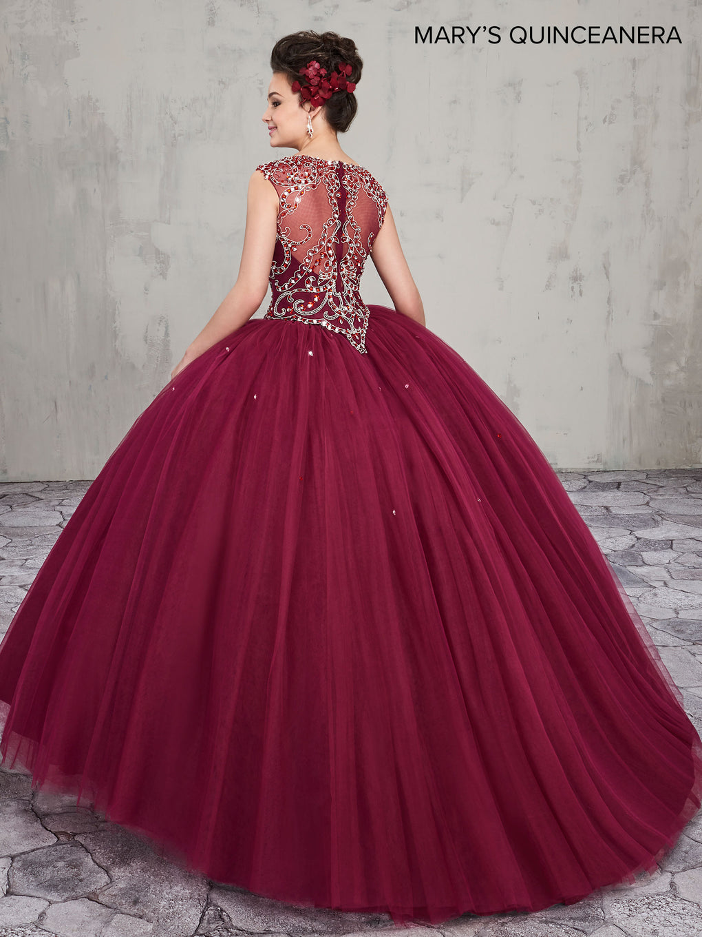 Marys Quinceanera Dresses in Peach, Dark Burgundy, or White Color