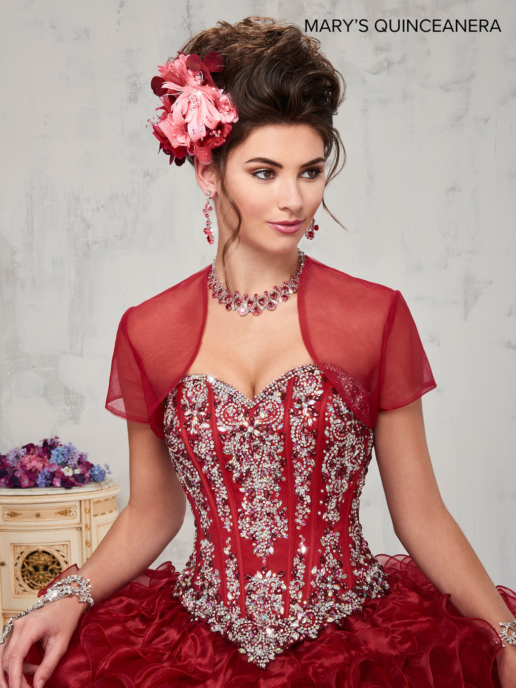 Marys Quinceanera Dresses in Dark Red or White Color