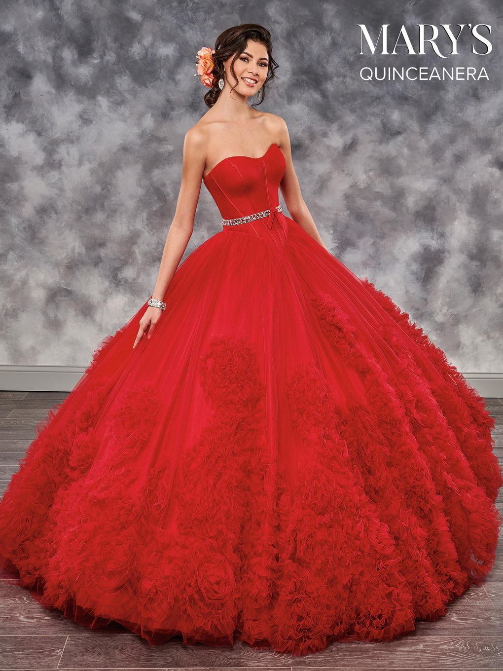 Marys Quinceanera Dresses in Ivory, Powder Blue, Red, or Watermelon Color